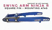 Swing Arm QTT Ninja 150 R Square Fin Mounting Atas Blue CNC